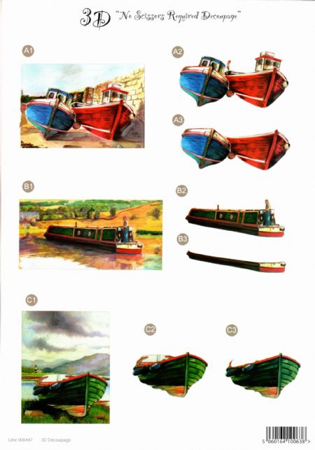 Sailing Boats Die Cut 3d Decoupage Sheet From Craft UK Ltd - NO CUTTING REQUIRED